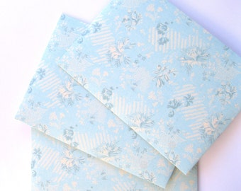 Light blue A7 envelopes 25 Handmade envelopes 5-1/4 x7-1/4 pale blue ticking pattern invitation announcements stationery cottage chic