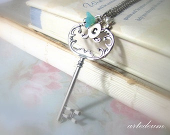 Personalized Silver Skeleton Key necklace Custom Initials Antique style Blue flower vintage Pumpkin shaped key Gift for her