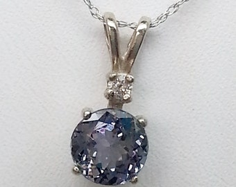 1.56ctw Round Tanzanite and Diamond 14KT White Gold Pendant