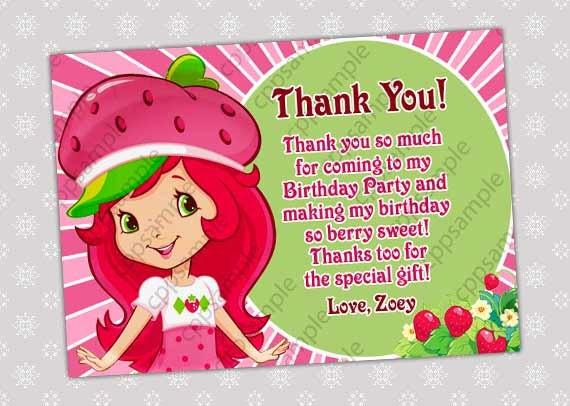 Items similar to Strawberry Shortcake Thank You Card Digital – Strawberry Shortcake Birthday Card