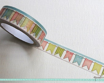 Washi Tape - Bunting Tape // Cute Washi Tape, Pretty Masking Tape // 10m