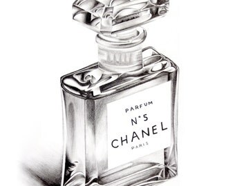 Chanel No5 Perfume Bottle A5 Colour Pencil Drawing Limited Edition Print