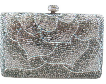 Swarovski ELEMENTS leaf Patterned Silver White Mauve Crystal Minaudiere Metal case rectangle box clutch purse bag