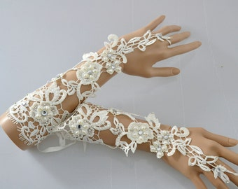 Swarovski Crystal Lace Crochet Vintage elbow Ivory Bridal Fingerless Gloves with silk Tie backs