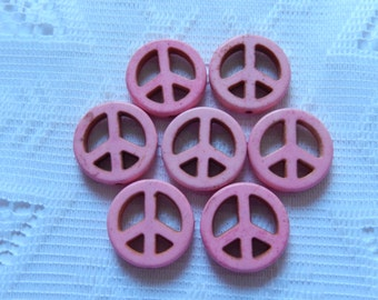 7  Bubble Gum Pink Peace Sign Howlite Turkey Turquoise Beads  20mm