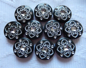 10  Jet Black & Silver Etched Flat Round Coin Disc Acrylic Beads  18mm
