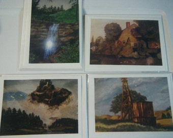 Notecards from my original oil and watercolor paintings- Set of 4