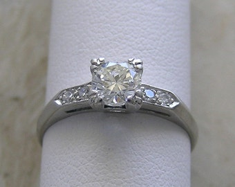 Vintage  Diamond Engagement Ring Platinum Circa 1940