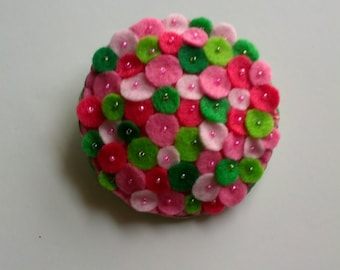 Round Pin Brooch with Pink and Green Circles and Beading