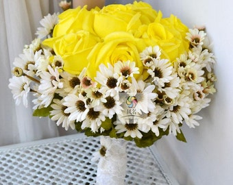 wedding bouquet pu real touch flower yellow rose and daisy