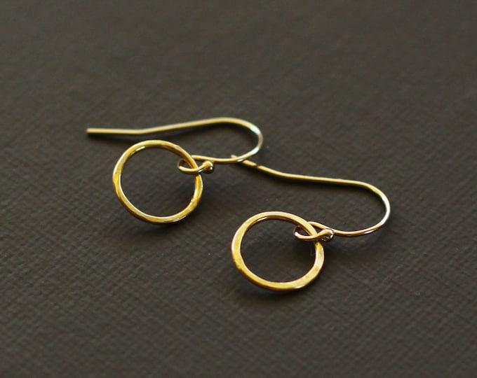 Minimalist Gold Circle Earrings - Simple Everyday Earrings