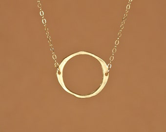 Circle necklace - gold circle necklace - hoop necklace - a 22k gold vermeil circle hanging from a 14k gold filled chain