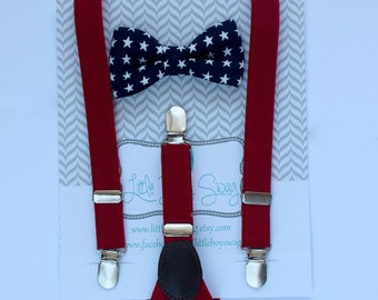 Fourth of July Patriotic Bow Tie Suspender Set, Baby Boy Bow Tie Suspender Set, Toddler Suspender, Boys Clothes, Boys Gift, 4th of July Boy