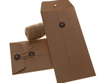 String Tie Envelopes - Brown Kraft x 10 ( DL size)