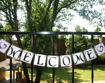 WELCOME BANNER - Wedding Banner  Banners  Rustic Banner - Engagement Party Decoration - Photo Prop