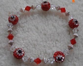 Red Rhinestone Evil Eye beaded bracelet