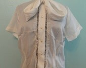 SALE 1950s 1960s Erwin Blouse New Old Stock M L tie neck lace Deadstock