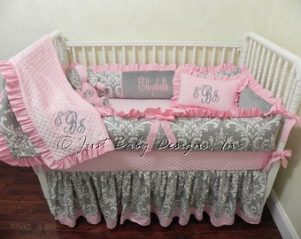 Pink and Gray Crib Bedding Set Elizabeth - Girl Baby Bedding, Gray Damask with Light Pink