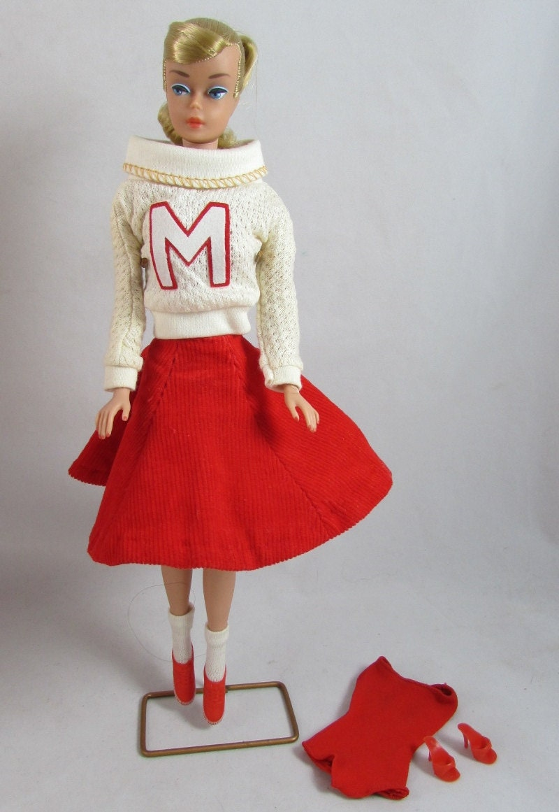 1964 Ash Blonde Swirl Ponytail Barbie Doll Hair Bow Suit Stand