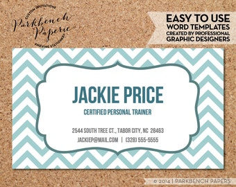 Business Card Template - Seafoam Chevron &  Frame -  DIY Editable Word Template, Instant Download, Printable