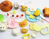 1 SET / Recoden / PVC / Cute /  Rilakkuma / Kuma / Bear / Bread / Biscuit / Cookies / Fork / Knife / Miniature / Dollhouse / JP357