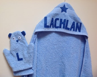 Personalised Baby/Boy/Girl hooded Towel and teddy handy mitt gift set. Handmade gifts for new babies, baby shower, christenings, birthday