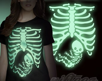 Pregnant Baby Skeleton Rib Cage -TR12874- T-Shirt Funny Pregnancy Costume Baby Shower Party Maternity Humor Gag Gift Tee Shirt