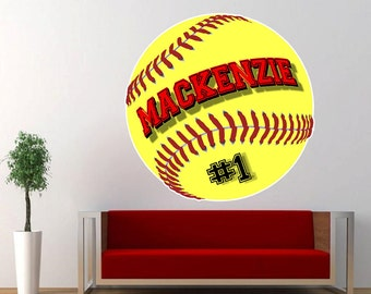 """Personalized Fast Pitch Softball Vinyl Wall Decal Sticker 21"""""""