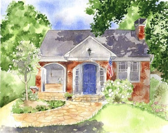 Custom House Painting - Watercolor Portrait of House - Custom Home Red Brick