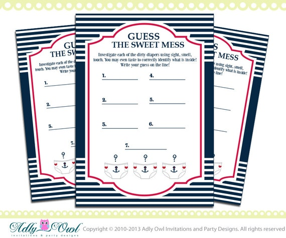 dirty diaper nautical baby shower game printable for a nautical boy