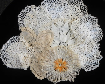 Lot Of 7 Vintage Handmade Doilies Very in Color