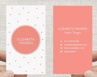 Polka Dot Business Card. Spots, Confetti Calling Card, Printable DIY Custom Digital Download