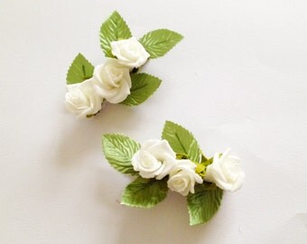 White Rose Flower Hair Clip Set, bridal floral hair clip, rose flower clip, bridal hair accessories