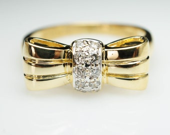 Vintage 18k Yellow Gold Diamond Bow Ring - Size 5.75 - Free Sizing - Layaway Available