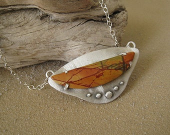 Sterling Silver and Picasso Jasper Art Necklace. Ready to ship