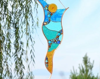 Stained Glass Wall Art or Large Window Panel, Contemporary Abstract Glass Sculpture for Home Decor, 'Chrysalis'