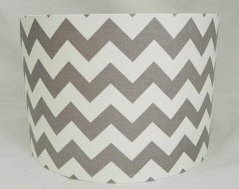 Grey Chevron Fabric Lampshade