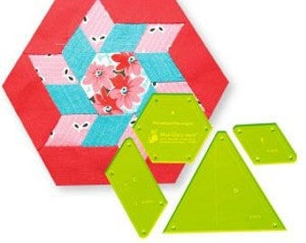 Patchwork Template Set - Pinwheel Hexagon from Victorian Textiles 8 inch block finished- online quilting Australia, hexagon series