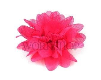 """Hot Pink - Set of 3 Petite 2"""" Chiffon Puff Flowers - PCP-003"""