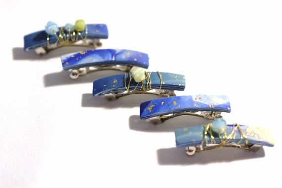 Hair Barrettes, Mini Hair Clips, Girls, Baby Blue Sea Glass Barrettes, Mini Barrettes, Festival, Sea Glass, Gold Embossed, Boho Barrettes