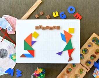 Customizable Tangram Picture Wall Art Welcome Sign on Dry Erase Board Prayer Dancing Rejoice! Make yours custom for your needs.