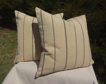 wheat colored cotton black stripe pillow cover