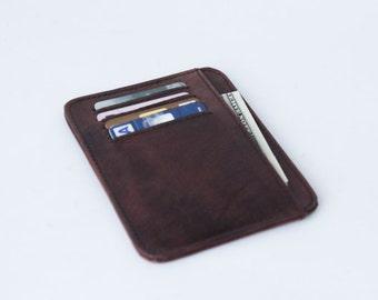 small wallet / card holder - Genuine Leather -Vintage Brown