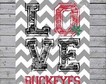 Love Buckeyes Chevron Print, OSU, Ohio State Buckeyes