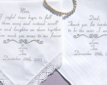 WEDDING Gifts for MOM and DAD Embroidered Handkerchiefs Personalized gifts for parents Mother and Father of the Bride Napa Embroidery