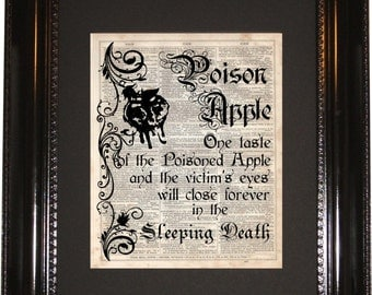 Poison Apple Spell , Dictionary Art Print, Vintage Dictionary, Silhouette, Disney Snow White, Wall Decor, Wall Hanging, Art Prints, Cameo