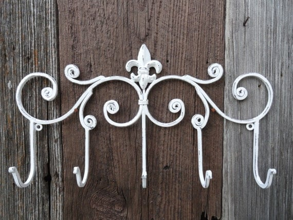 Wall Hook White Decorative Wall Rack Fleur De Lis Wall Decor