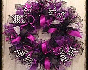Purple and Black Deco Mesh Wreath/Purple and Black Wreath
