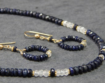 blue sapphire strand necklace, sapphire jewelry set, sapphire earrings, September birthstone, necklace set