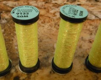Kreinik Metallic Threads Blending Filament #9132 LEMON GRASS 50M - New